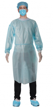 AAMI level 2 Non-woven Disposable Isolation Gown with Knitted Cuffs  (10 Pcs/Package)